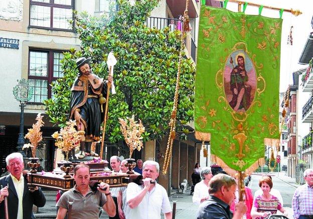 Corpus. Imagen de San Roque y su estandarte.