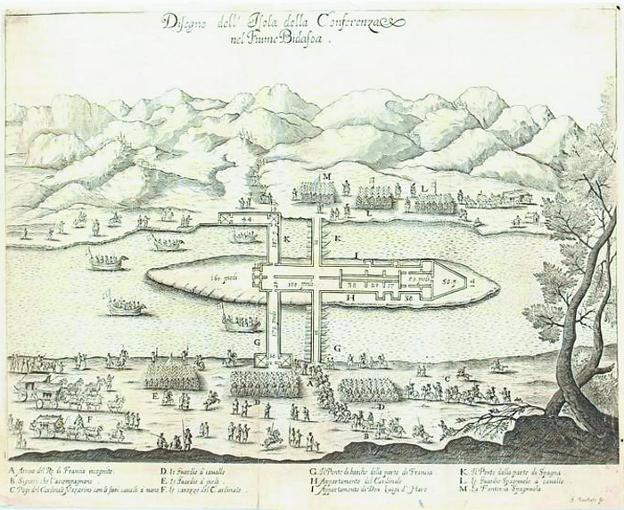 Un grabado muestra el pabellón que se levantó en la Isla de los Faisanes para la firma en 1660 del tratado que puso fin a la guerra que mantenían España y Francia. / DV