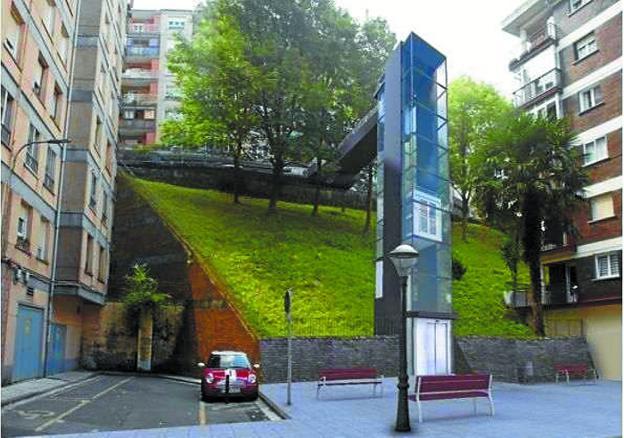 Fotomontaje del futuro ascensor que se construirá en Artia, entre las calles Darío de Regoyos y Pío Baroja./