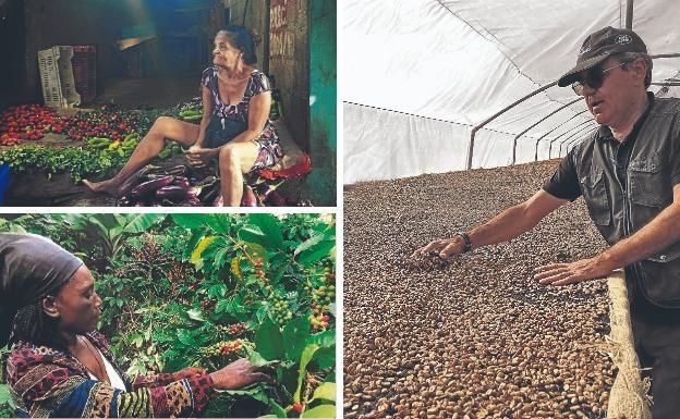 Un joven jornalero haitiano sonríe a la cámara en plena cosecha. /