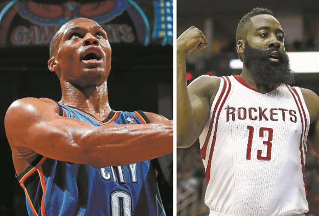Russell Westbrook y James Harden. / AFP