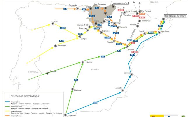 Itinerarios recomendados por la DGT.