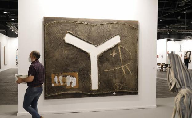 The Greek work of Antoni Tàpies in one of the rooms belonging to the International Contemporary Art Festival, ARCO, on July 6, 2021, in Madrid, (Spain)